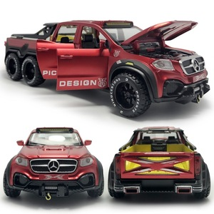 HOMMAT 1:28 Scale Red X-Class 6x6 Pickup Truck Vehicle Model Car Metal Alloy Diecast Toy Car Model Kids Gifts Toys For Children