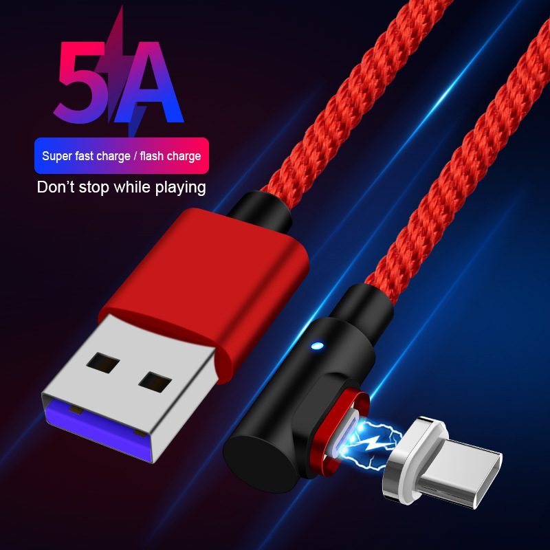 Magnetic USB Cable 5A Super Fast Charging  Nylon Braided For Huawei Mate 20 X P20 Pro Xiaomi  USB C Magnet Charger Type C Cable|Mobile Phone Cables|   - AliExpress