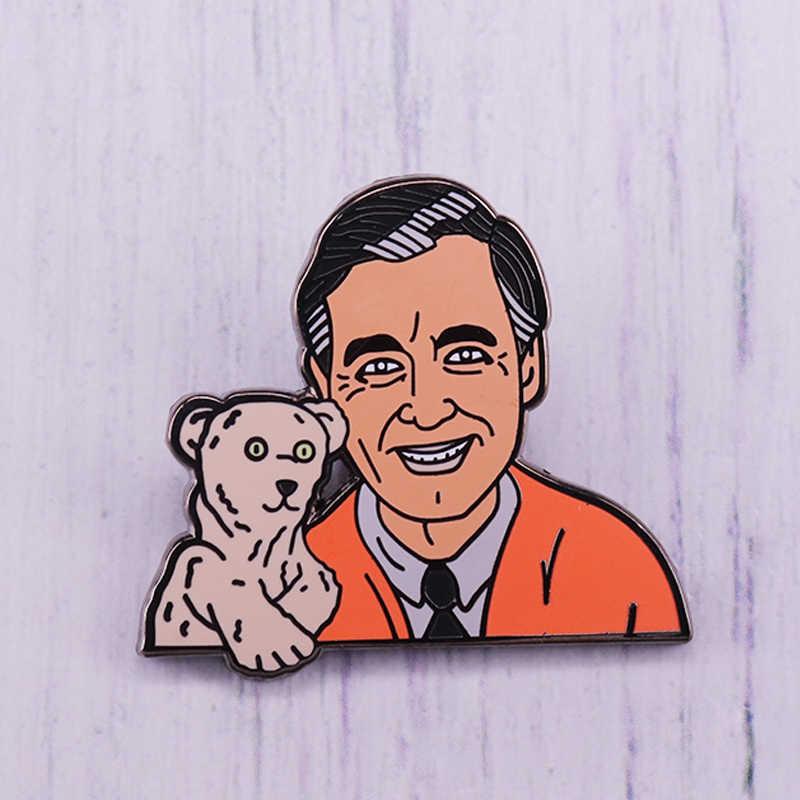 Fred Rogers Enamel Pin Cute Puppet Bear Brooch Mr Rogers Neighborhood Nostalgic Childhood Badge Kids Gift Aliexpress