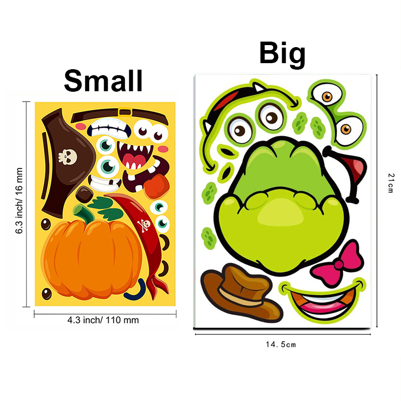 8/4sheets Children DIY Stickers Make Your Own Face Puzzle Sticker Games Cartoon Animal Princess Fun Gift For Kids Creative Toys 6