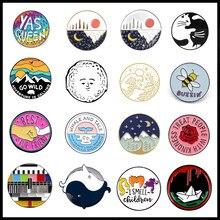 Broche em esmalte, bolsa de acessório para presente, de desenhos animados redondos, lua, sol, gato, abelha, expressão, broche em liga