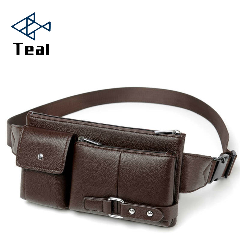 Men's Waist Packs Male Pu Leather Fanny Pack Belt Bag Phone Pouch Bags Travel Waist Pack Male Small Waist Bag Leather Pouch