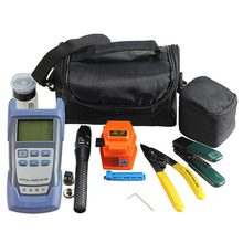 Fiber Optic FTTH Tool Kit with Fiber Cleaver and Optical Power Meter 1mW Visual Fault Locator and Orange Cutter(China)