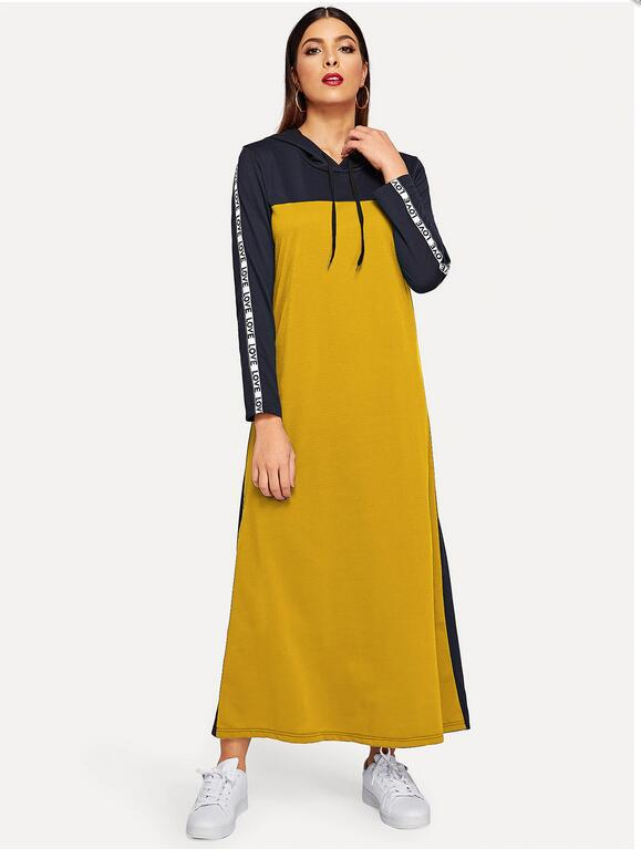 Spring Autumn Cotton Abayas Students Sport Long Dress Patchwork Casual Hooded Plus Size Dress Muslim Abayas For Women