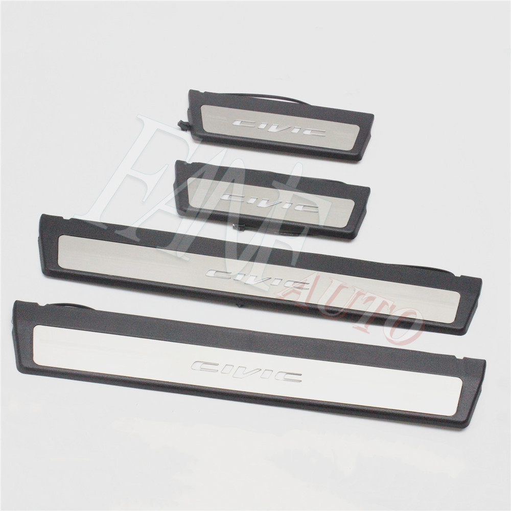4PCS Silver Stainless Door Sill Protector Scuff Plate Trim For Honda Accord 2018