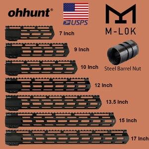 "ohhunt Tactical M-LOK Handguard Rail 7"" 9"" 10"" 12"" 13.5"" 15"" 17"" M LOK Free Float Picatinny Rail Bracket with Steel Barrel Nut(China)"