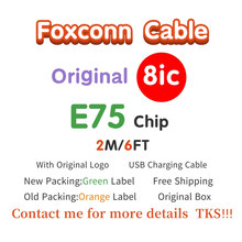 10pcs lot aaaaa quality aluminum mylar sync data cable 2m 6ft usb charging cable for foxconn phone with new packaging 100pcs/Wholesalelot Genuine Original 2m/6ft 8ic E75 Chip Sync Data USB charger Cable for Foxconn with newest packing Green label