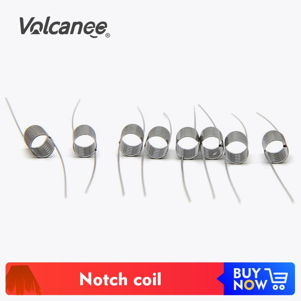 Volcanee Notch Coil 10Pcs/lot SS316L Heating Wire Premade Prebuilt Coils 0.25ohm Core For RDA RBA RTA Atomizer E Cigarettes
