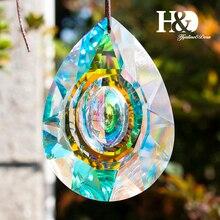 H & D Hängenden Kristalle Prism Suncatcher Für Windows Dekoration 89mm AB Kronleuchter Teile DIY Hause Hochzeit Decor Zubehör handwerk