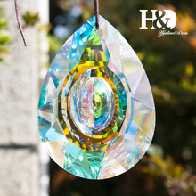 H&D Hanging Crystals Prism Suncatcher For Windows Decoration 89mm AB Chandelier Parts DIY Home Wedding Decor Accessories Craft