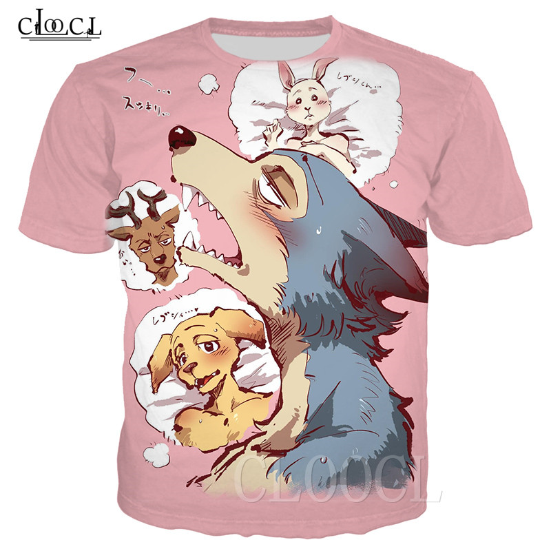 Cartoon Anime BEASTARS T Shirts Tee Harajuku Sweatshirts Pullovers 3D Wolf Deer Animal Print Men/Women T-shirt Oversized T Shirt