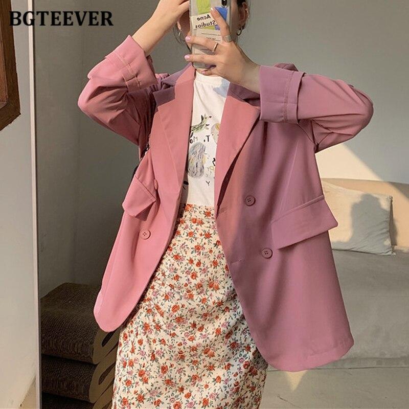 BGTEEVER Chic Loose Double-breasted Women Blazer Summer Thin Female Suit Jacket Casual Full Sleeve Outwear Blaser Femme 2020