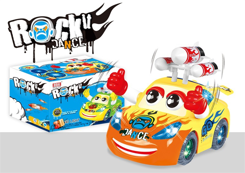 3D Light Tiao Wu Che With Hat Electric Cartoon Car Rocket Model Car CHILDREN'S Toy Stall Hot Selling Car