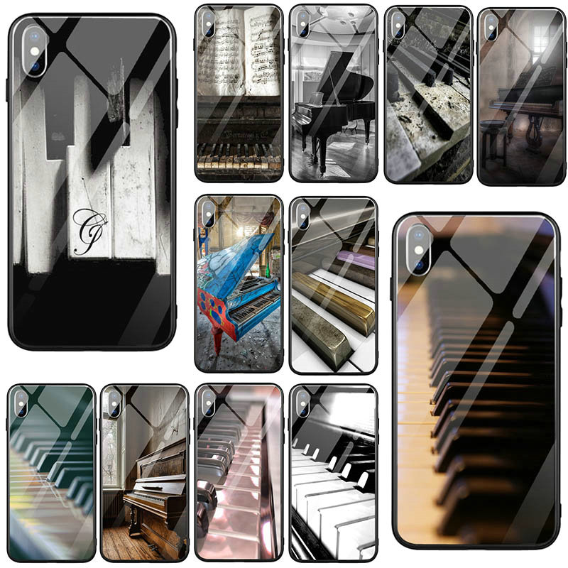 Tempered Glass Mobile Phone Case for iPhone 5 5S SE X XR XS 11 Pro Max 8 7 6 6S Plus Shell Music Software Piano image