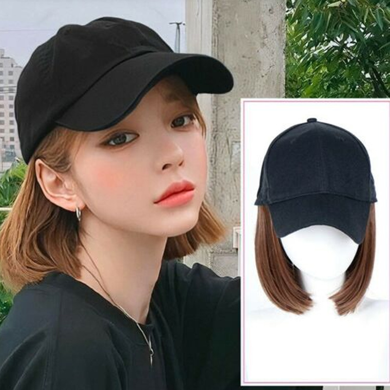 2019 New Arrival Adjustable   Baseball   Hat with Short Hair Wigs Bob Hair Synthetic Hat for Women Summer Wig   Cap   Casual Outdoor