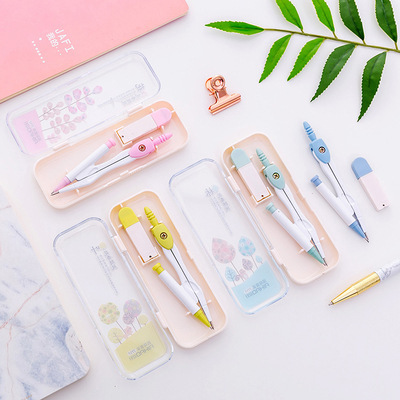 1pc Compasses Drawing Round Device Kawaii Stationery Compasses Set with Automatic Pencil School Teaching Tools Student Supply