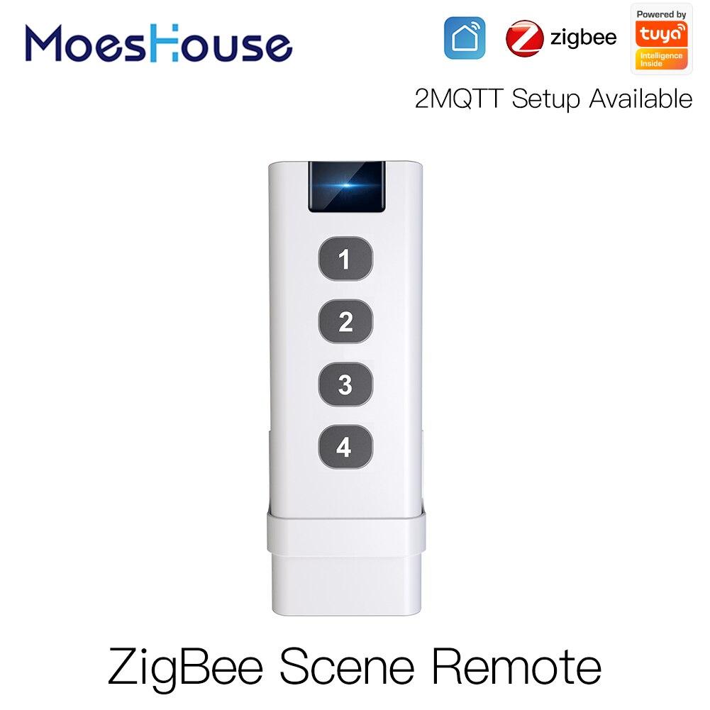 ZigBee-interruptor inalámbrico inteligente para el hogar, dispositivo de Control Remoto Portátil de 4 entradas, sin límite de Control para dispositivos inteligentes