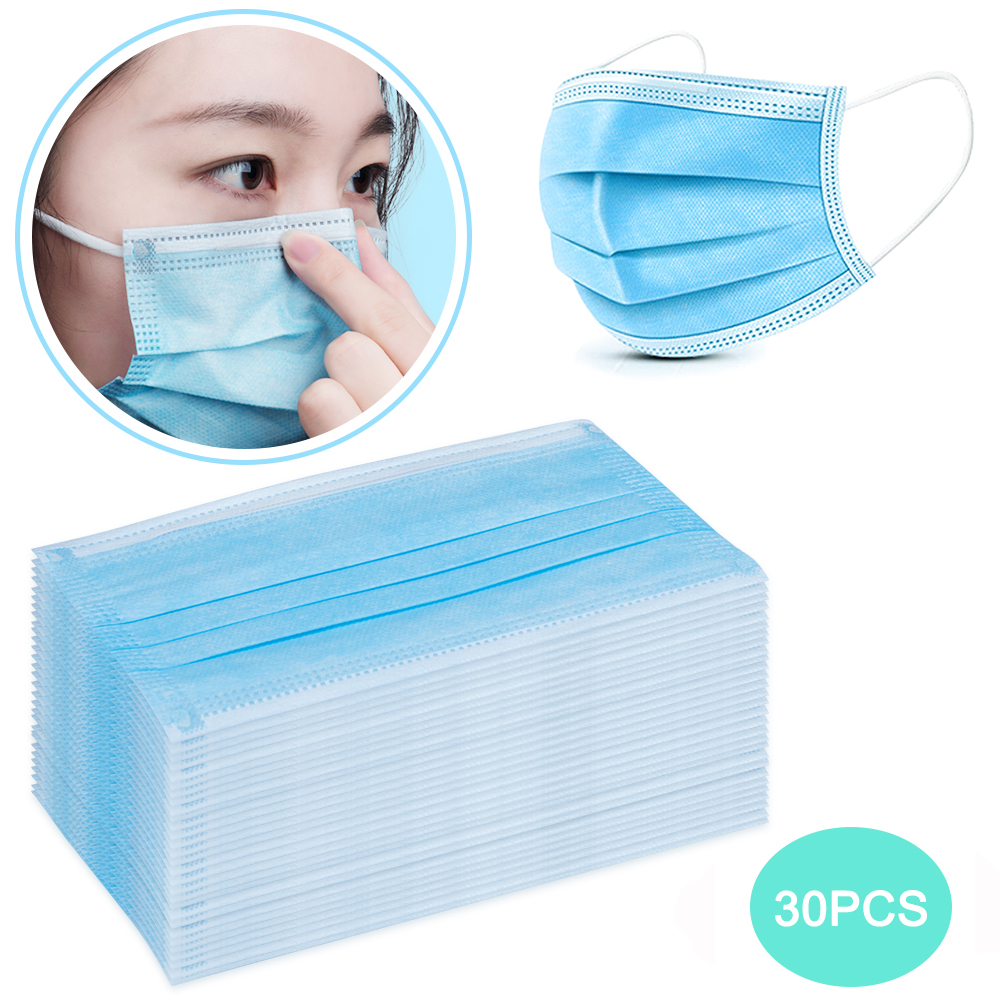 30PCS 3 Layers Disposable Mask Anti Pollution Mask Black Adult Unisex Protection Fabric Dust Mouth Mask For Allergy/Asthma