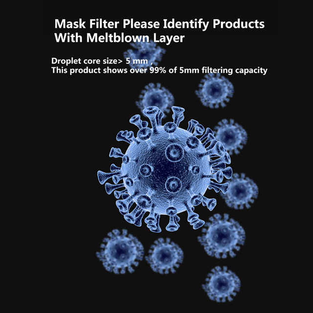 50pcs Mask Filter Paper 5-layer Filtration Safety Protection Anti Flu Activated Carbon Antiflu Mask Anti Dust PM2.5 ffp3 1