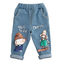 Children Jeans 2019 Fashion Autumn Kids Boys Girls Denim Pants  Cartoon Elastic Girl Trousers