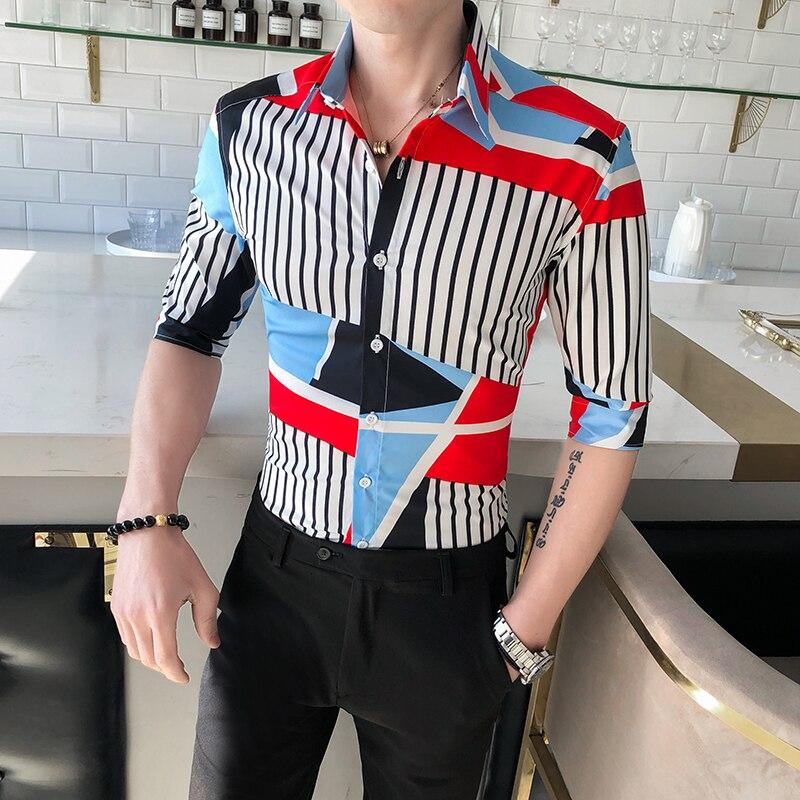 Fashion 2020 New Spring Summer Half Sleeve Shirt Men Streetwear All Match Slim Fit Men Striped Shirts Club Casual Blouse Men 3XL