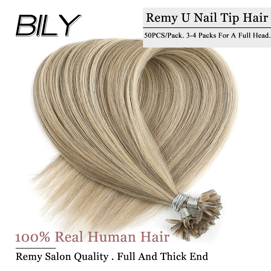 Inventive Bily U Nail Tip Real Remy Hair Keratin Bond Human Hair Extensions Capsule Platinum Color Hair 16 20 24 28 50pcs Special Buy