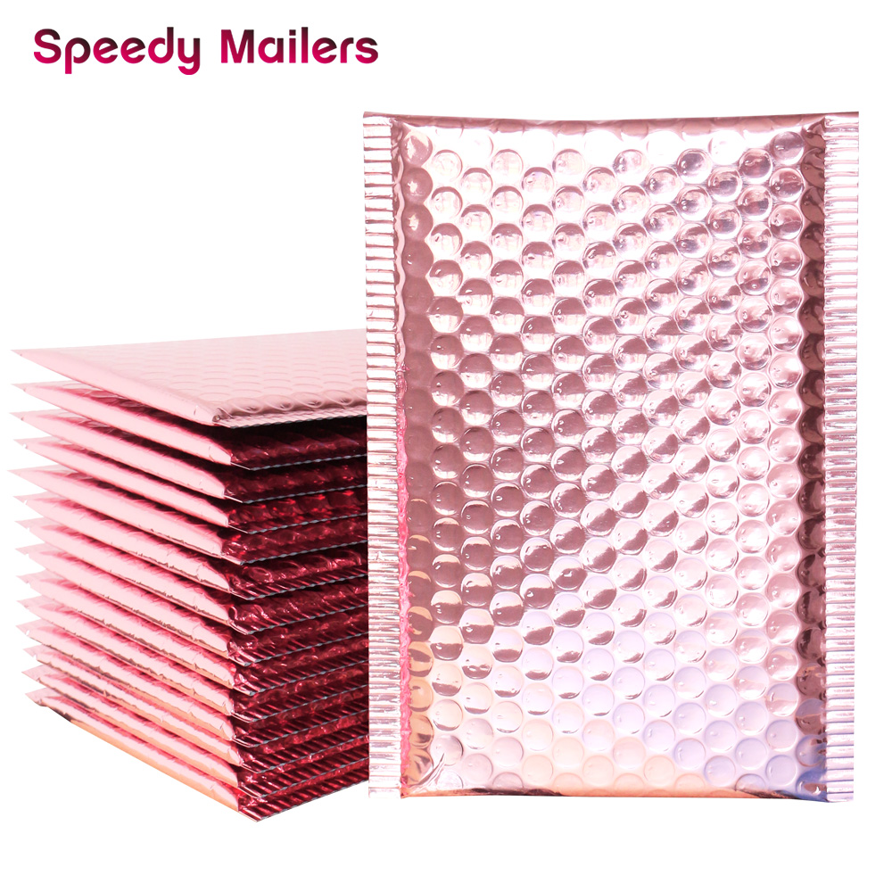 10pcs 15x20+4cm Rose Gold Bubble Envelop/Rose Gold Foil Bubble Mailer For Gift Packaging & Wedding Favor Bag&Mailing Envelopes