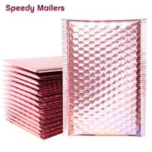 10 Uds. Sobre de burbujas de oro rosa de 15x20 + 4cm/sobre de burbujas de papel de oro rosa para embalaje de bolsas de regalos y recuerdos de boda y sobres de correo