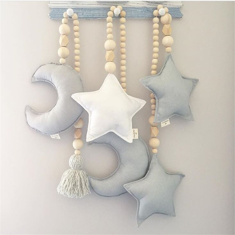 Baby Decoration Pillow Nordic Moon Stars Wooden Beads Strings Toys Kids Bed Room Crib Tent Decor Ornaments Photography Props #S