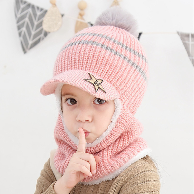 Children Hat Scarf New Plus Velvet Ball Warm Thicken Wool  Face Protection Baby Winter Cap For 2-5years Old Girls Boys