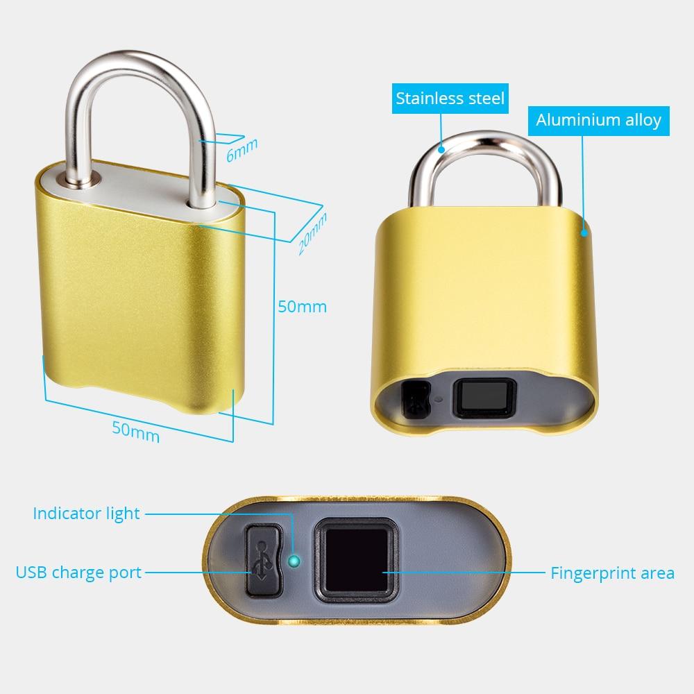 Mini Bluetooth Lock IP65 Waterproof Keyless Fingerprint Unlock Anti Theft USB Padlock Door Lock IOS Android Phone APP ControI in Electric Lock from Security Protection