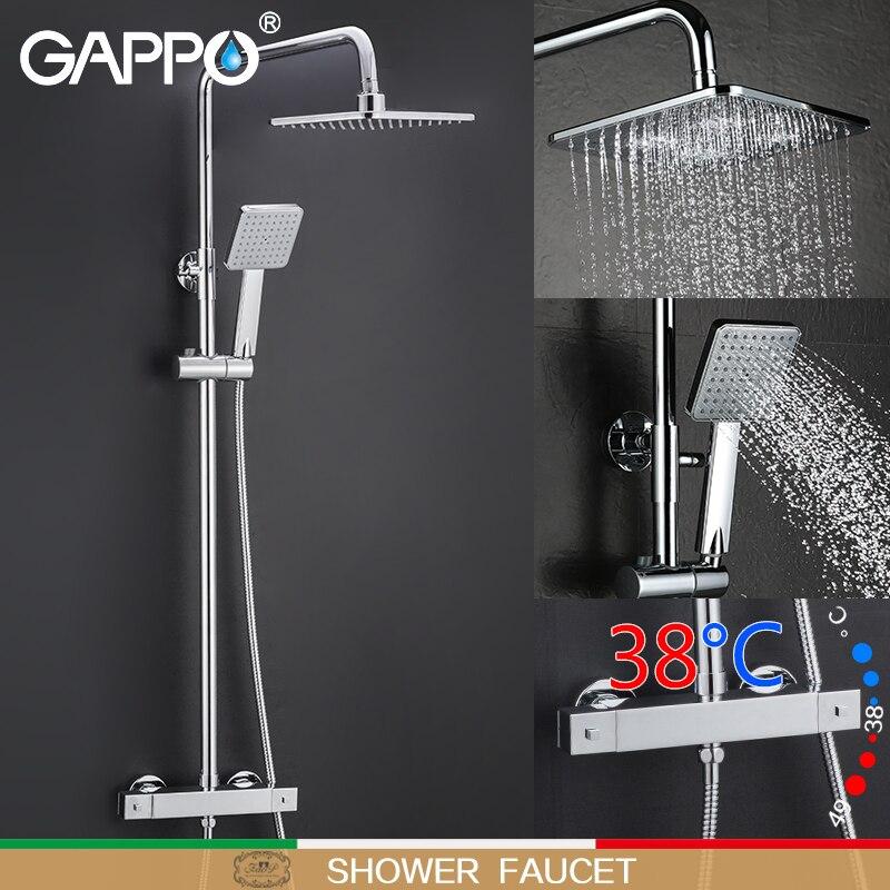 Gappo sistema de chuveiro termostato do banheiro torneira do chuveiro misturadora cachoeira montagem na parede termostática misturador do chuveiro