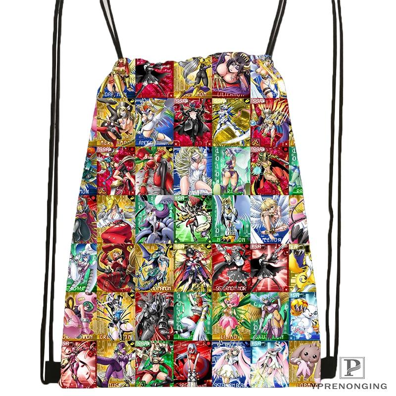 Custom Digimon_beelzemon   Drawstring Backpack Bag Cute Daypack Kids Satchel (Black Back) 31x40cm#180612-03-Digimon2