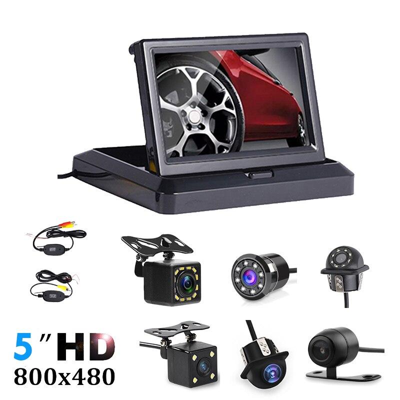 """Dobrável 5 """"monitor de estacionamento reverso do monitor do carro da tela de tft lcd hd800 * 480 com 2 entrada de vídeo, câmera do retrovisor (opcional)"""