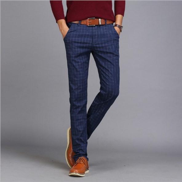 Mens Cotton Linen Slim Fit Formal Plaid Suit Pants Men Skinny Work Pants Office Wear Mens Dress Trousers Khaki Black Grey Blue