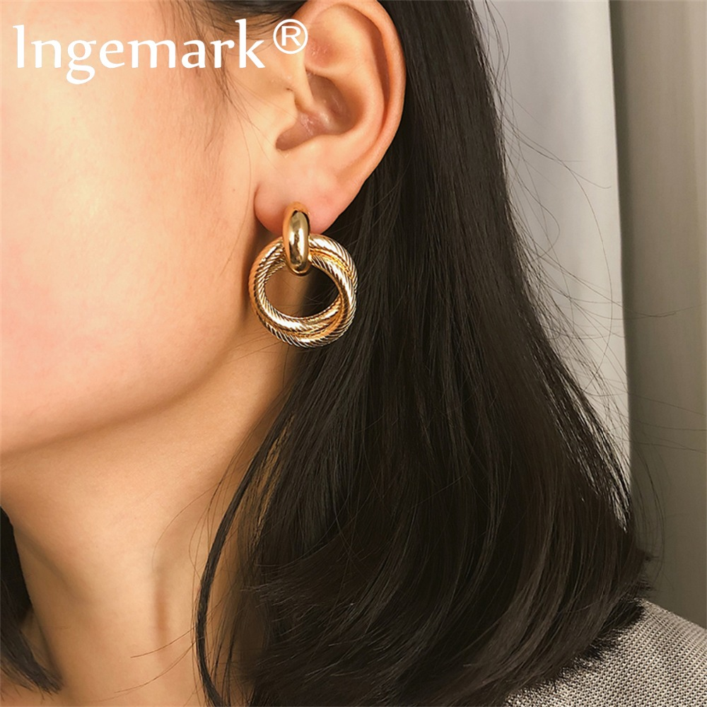 Ingemark Punk Big Double Circle Drop Earrings For Women Korean Fashion Metal Geometric Round Brincos Earrings 2019 Jewelry Gifts