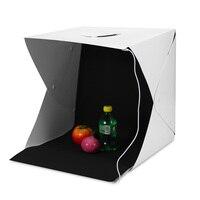 Caja de luz plegable portátil estudio de fotografía caja de luz LED caja de luz suave Kit de tienda para el fondo de la foto de la cámara del teléfono