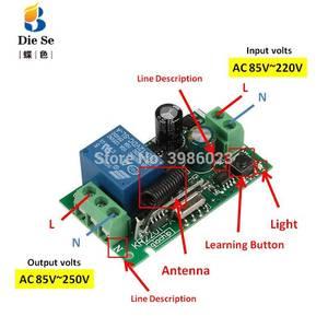Image 2 - 433MHz 범용 무선 원격 제어 스위치 AC 85V 250V 4 채널 릴레이 수신기 모듈 차고 스위치에 대 한 4 버튼 원격 제어