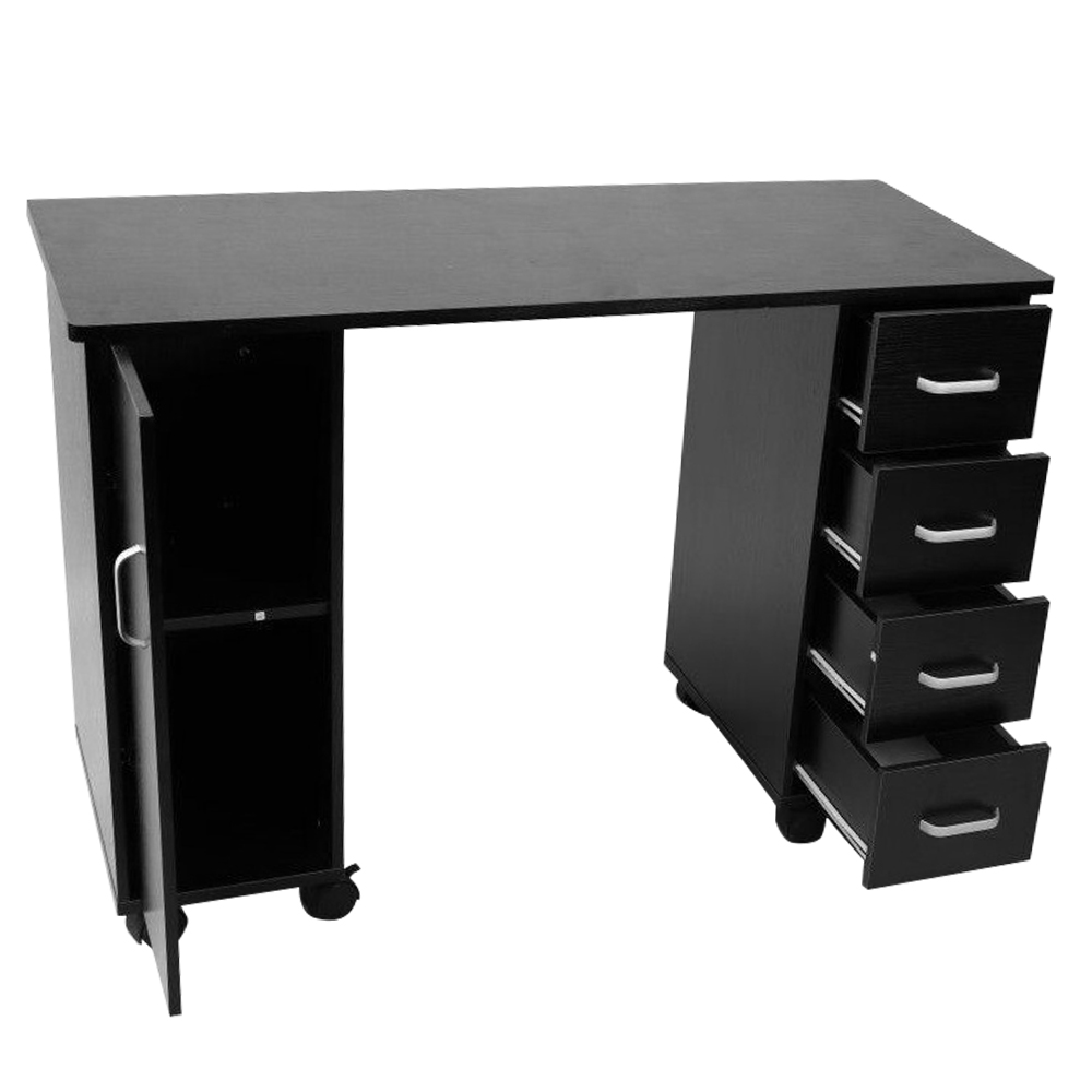 【US Warehouse】Double-Sided MDF 1 Door Left 4 Pumps Manicure Table With Nylon Wheels Hand Pillow Black   Drop Shipping USA