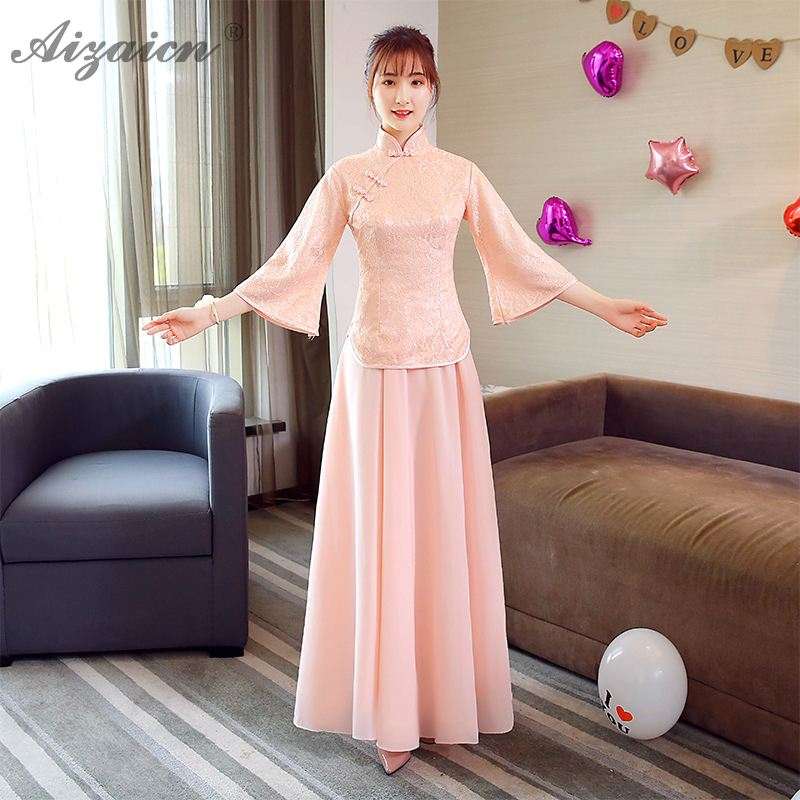 2019 Lace Bridesmaid Gown Qi Pao Women Traditional Chinese Dress Cheongsam Modern Oriental Style Pink Slim Long Dresses Qipao