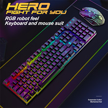 Mouse-Pad-Set Laptop-Keyboard-Mouse Gamer Pc Wired-Gaming-Keyboard Rainbow Backlit Rgb