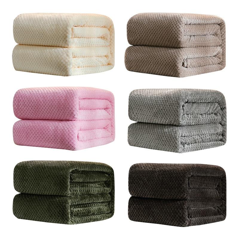 Manta de franela polar, fundas de cama de Color liso de felpa para sofá, mantas suaves a cuadros para adultos, cubrecamas para el sofá 60001