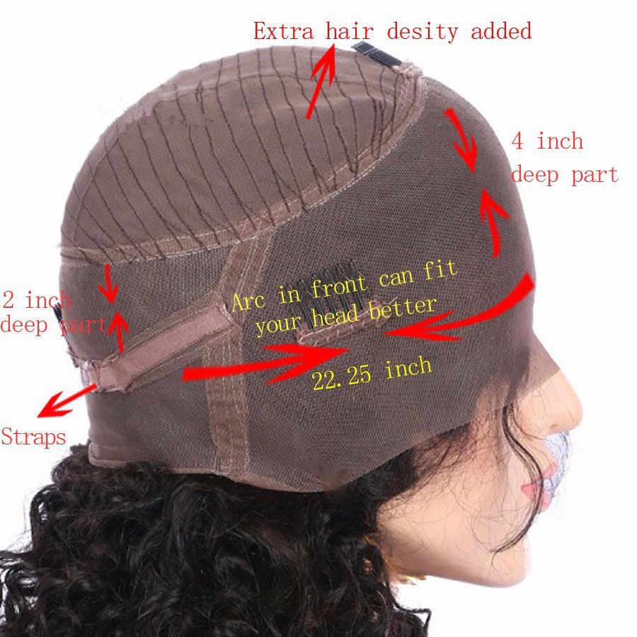 ALICROWN, pelucas de cabello humano con frente de encaje Ombre 250% de densidad, con minimechones pre-arrancados, pelucas frontales de encaje 360 para mujeres