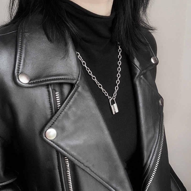 1 Uds Rock cerradura gargantilla collar de cadena larga de dos titular Punk cadena candado colgante de collar de hiphop de las mujeres joyería de los hombres