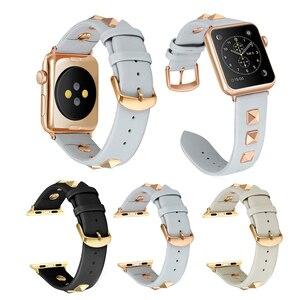 Кожаный ремешок для наручных часов Apple Watch, версии Series5 4 3 2 1 2019 нового дизайна роскошные заклепки Стиль браслет Для мужчин/Для женщин ремень 40...
