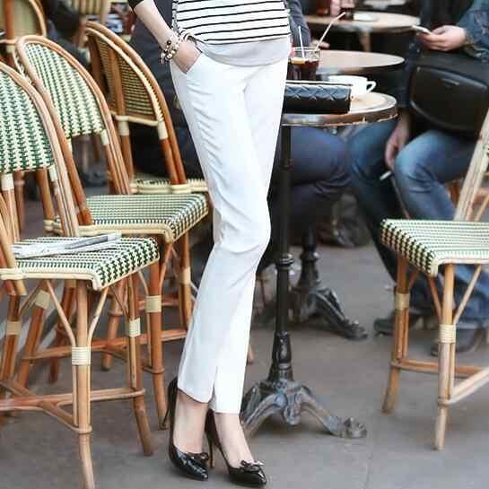 נשים פורמליות משרד עבודת מכנסיים בתוספת גודל גבירותיי מכנסי עיפרון שחור OL שחור לבן חאקי מכנסיים אמצע מותן חותלות 2020 DV248