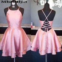 Mbcullyd Light Pink Short Prom Dresses 2020 Sexy Cross Back Reflective Party Gowns Cheap Plus Size Vestidos de fiesta de noche