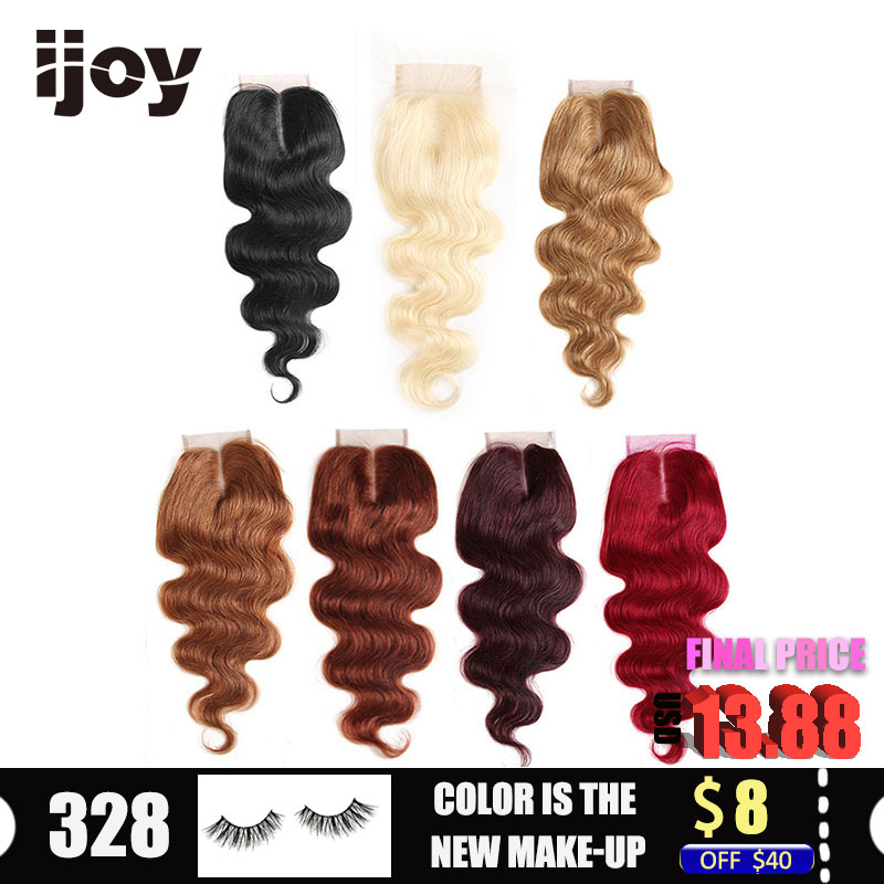 "Human Hair With 4x4 Lace Closure #1B/4/27/30/33/99J/Burgundy 8""-20"