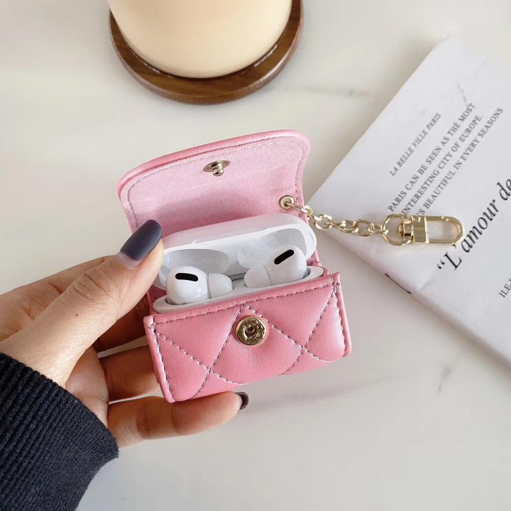 LUXURY CC DESIGN  AIRPODS Pro Case  BLUETOOTH EARPHONE COVER Luxury Brand Strap Luggage Accessories Pendant Anti Lost Jewelry