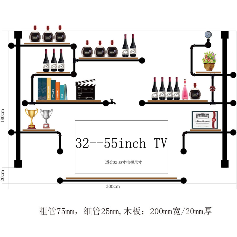 High-end Multy-layer Pine Wood And Iron Pipe Wine Rack TV Wall Shelf Antique Design Audio Cabinet Bookshelf